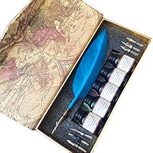 GC Antique Blue Color Turkey Feather 5 Color Ink Writing Quill Dip Pen LL-54