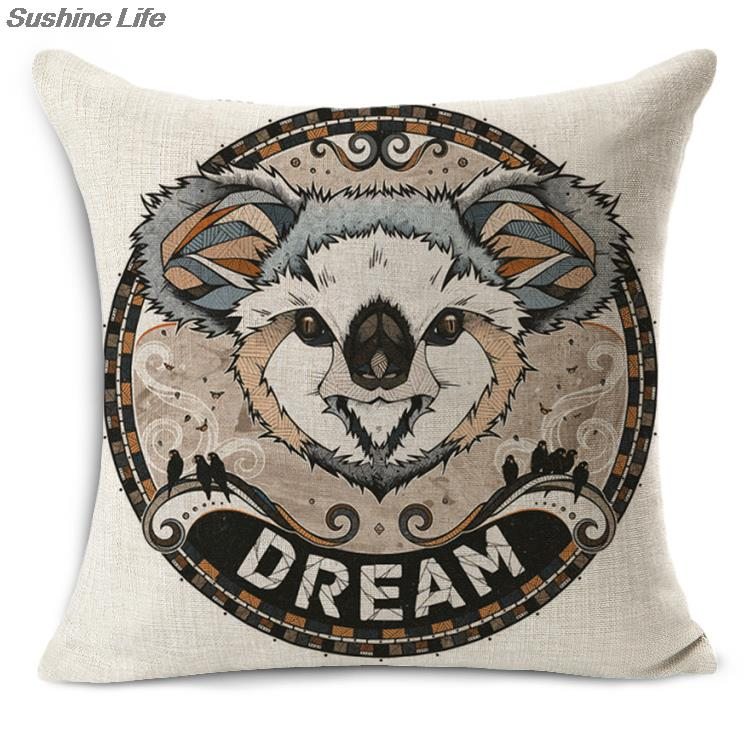 Gothic style animals patterns represent different meaning design pillowcase linen cotton pillow covers 44*44cm home decorative