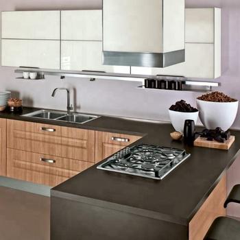 Long Lifetime Wooden Color Membrane Pvc Kitchen Cabinet ...
