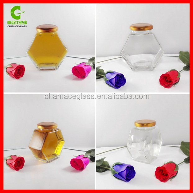 2017 Hot Sale 500g Glass Hexagonal Honey Jars with Twist Off Lids