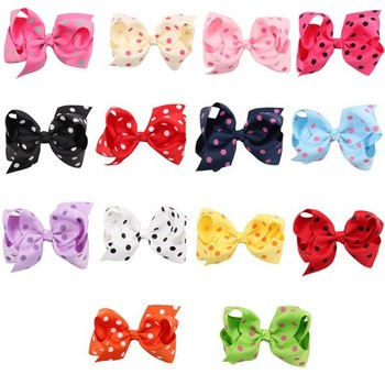 High Quality Christmas Decorations Hair Accessories Multi Colored Ribbon Dots Kids Clips For Girls