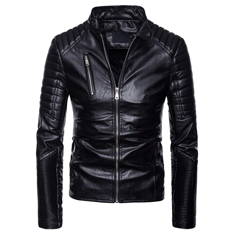 AOWOFS Men's Classic Collar Leather Jacket Zip up Slim Fit Moto Bomber Biker Racer Jacket