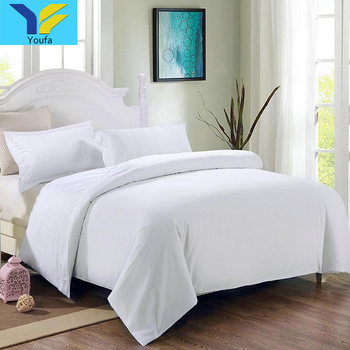 Chinese Hotel Supplies Bed Linen King Size White Plain Bed Sheets Bed Set  Duvet Cover Set