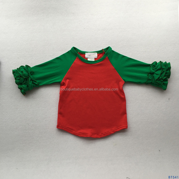 boutique christmas kids redgreen ruffle sleeve raglan shirts baby girls icing ruffle cotton autumn