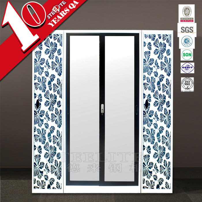 One Door 2 Drawer White Slim Closet Wardrobe / Narrow Single Door Girls White  Wardrobe Bedroom