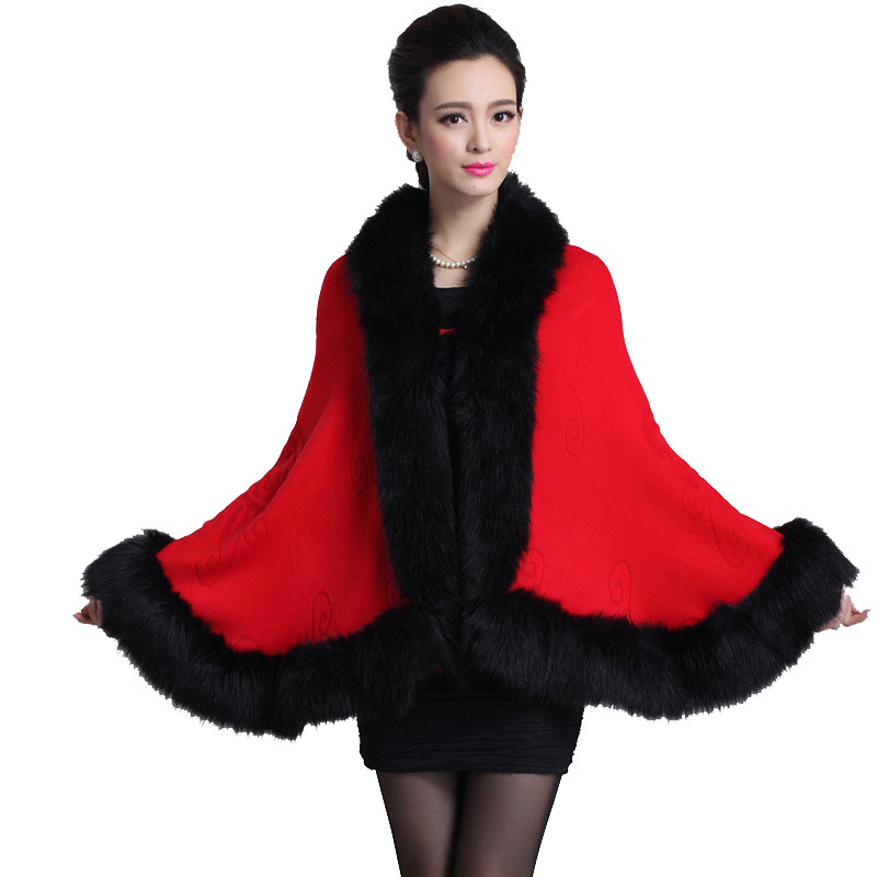 6 Colors Plus Size 2015 New Fashion Winter Scarf Women Warm Thicken Knitting Faux Fox Fur Shawl Winter Poncho Scarves NW37