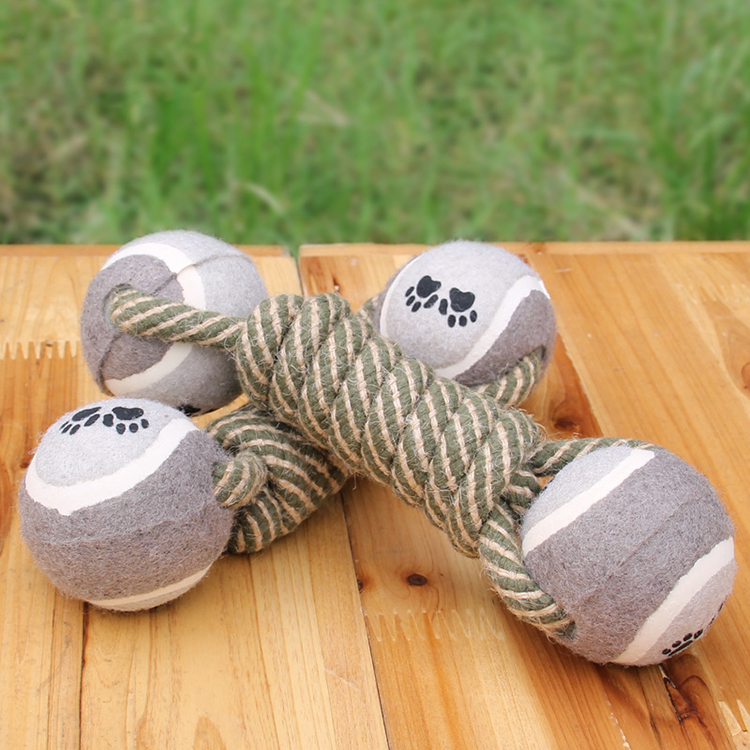 New Arrival Squeaker Dog Toys Pet Puppy Indestructible Tennis Rope Doy Toy