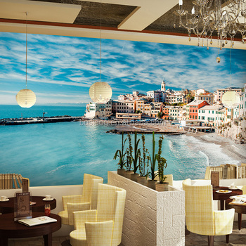 Fashionable Bule Sky And Sea Wallpaper Murals For Hotel Decor Or