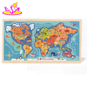 Educational Kids World Map Puzzle,Children DIY map jigsaw puzzle,Montessori equipment Africa America wooden puzzles W14C140