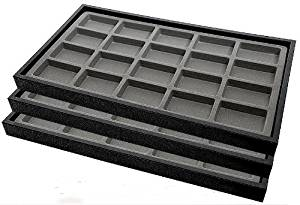 New (3) Black Plastic Jewelry Display Trays Showecase W/20 Compartments Gray Jewelry Display Insert By Jbt
