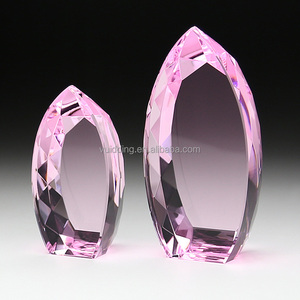 Expensive Oval Faceted Pink Crystal Trophy For Wedding VIP Gifts