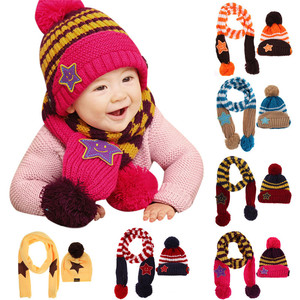 edfade80bcc free shipping. Lovely New Winter Kids Hat Smile Star Print Children  Skullies Beanies Scarf Hat Set for Baby Boys Girls Baby Knitted Hats Caps