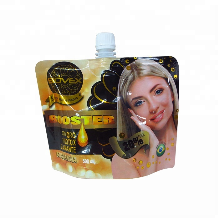 High quality packaging waterproof plastic stand up packaging spout pouch for hair mask