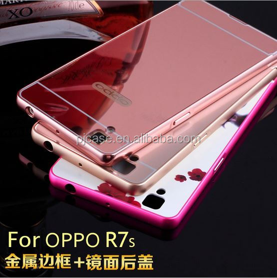 new arrival Aluminum Mirror Bumper Case for oppo R7s,For oppo R7s electroplate Metal Bumper Mirror Case