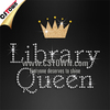 Gold crown library queen bling tshirts hot fix stones transfers