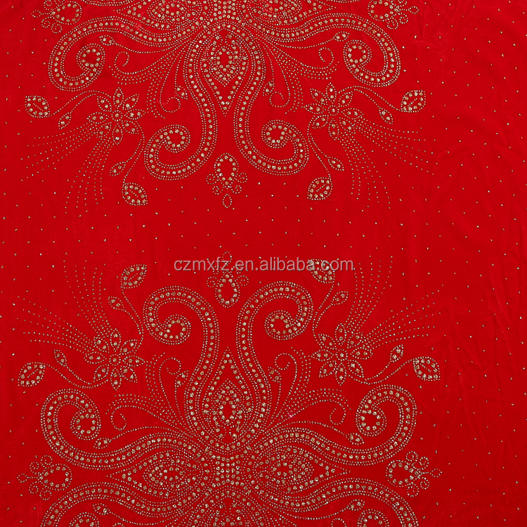 Red telas polyester yarn dyed glitter solid velvet fabric for wedding dress wholesale