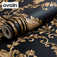 Black Gold Damask Metallic Textured Vinyl Wallpaper Home Decoration Wall Paper