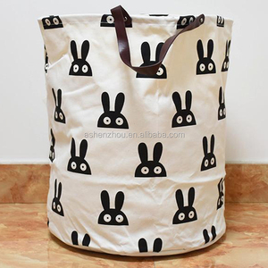China factory wholesale custom assorted colors folding large cotton canvas fabric basket drawstring laundry bag