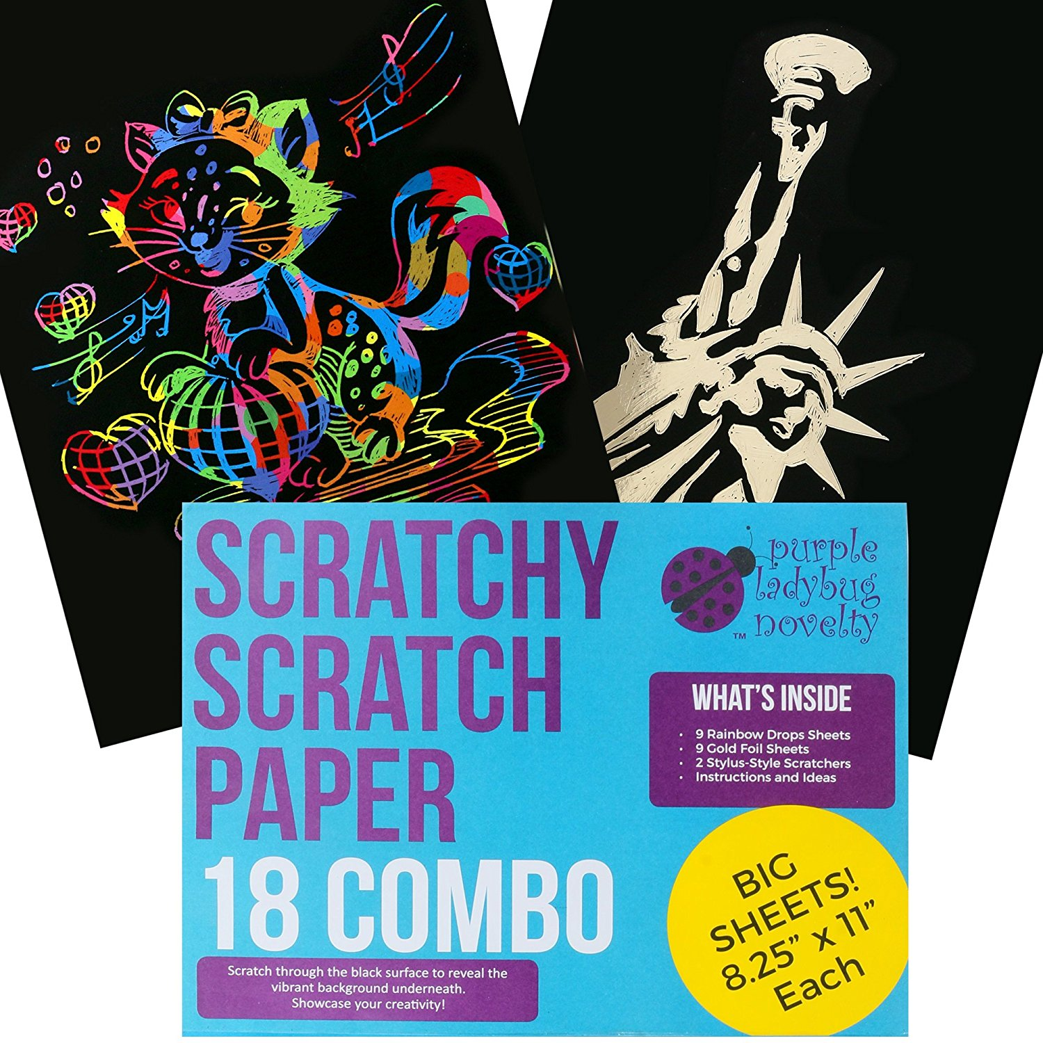 """18 BIG Sheets SCRATCH PAPER Combo Art Set For Kids! 18 BIG 11"""" x 8.25"""" Sheets - 9 Rainbow Scratch Paper Sheets & 9 Gold Foil Sheets! Kit comes with two scratchers - Makes Art Fun for kids and artists!"""