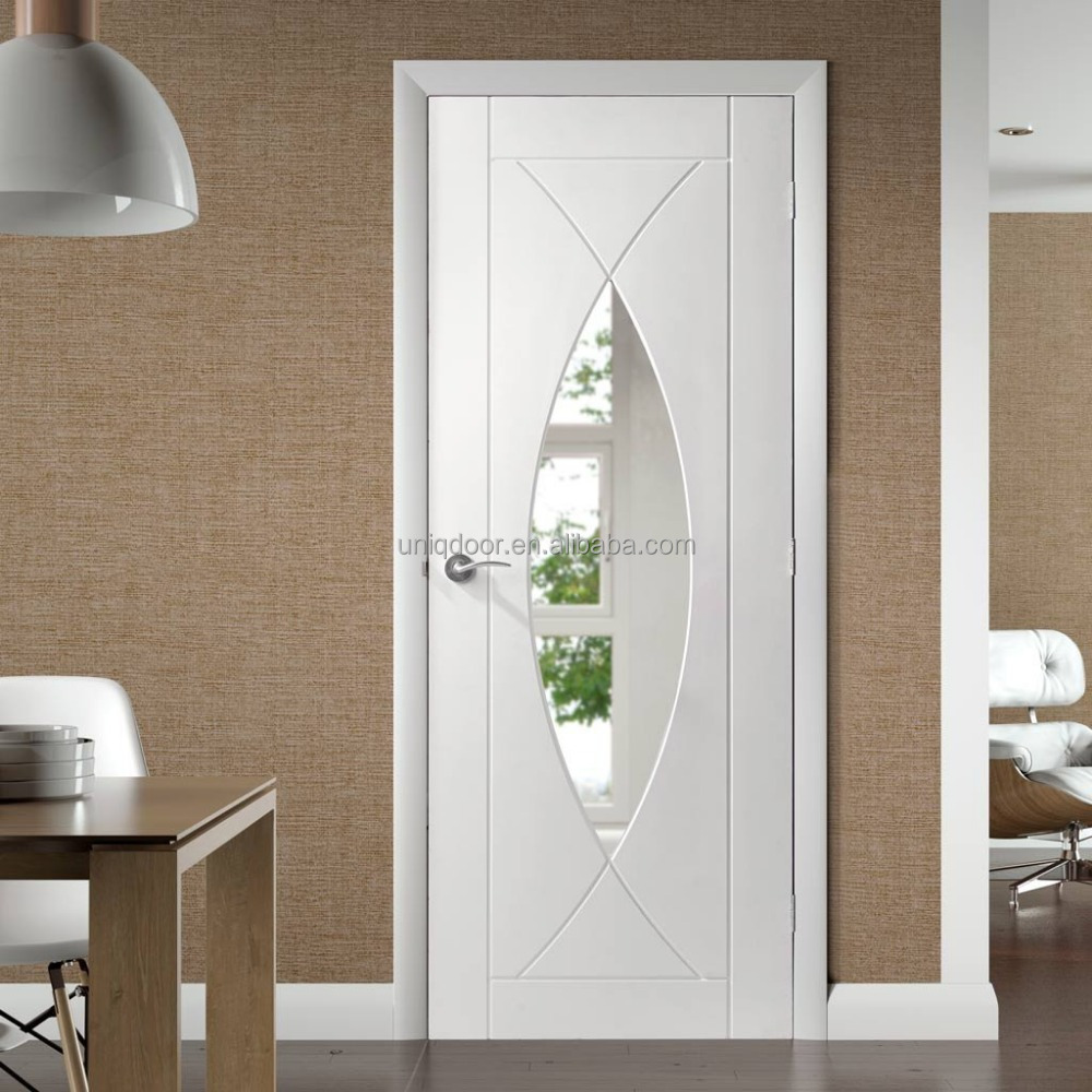 White Primer Clear Glass Door Plywood Door Frame Interior Buy