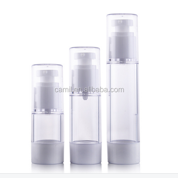 white cosmetic plastic as airless pump bottle packaging and 30ml airless