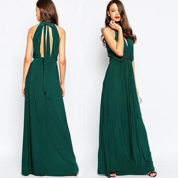 Einfarbig Emerald Green Verziert Kleid Halfter Design Mit Backless ...