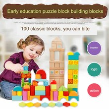 China Wholesale Baby Puzzle Boy Wooden Assembling Geometric 100pcs Building Blocks Toys