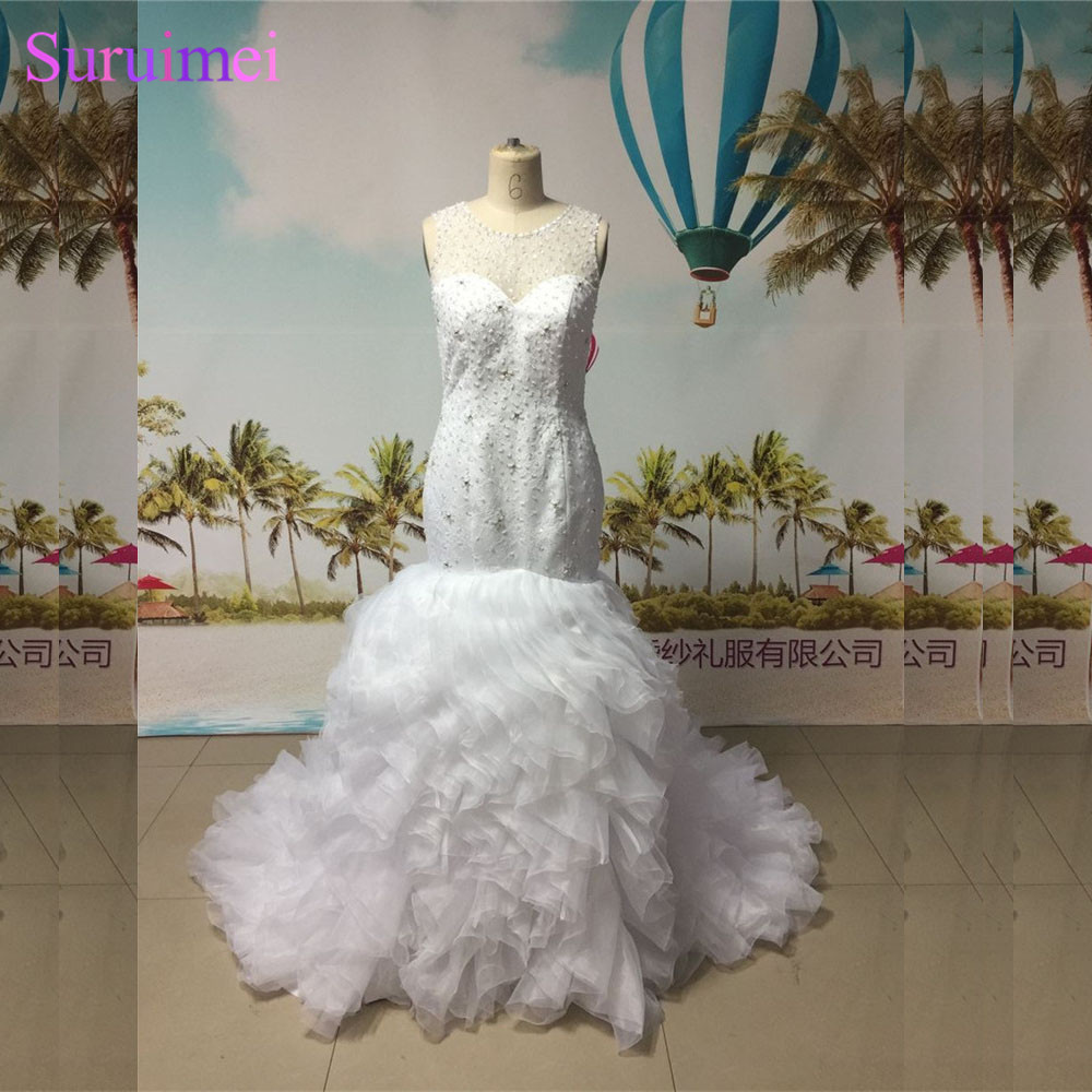 Mermaid Wedding Dresses Luxurious Beaded Crystals Back See Through Organza Gown Kim Kardashian Bride