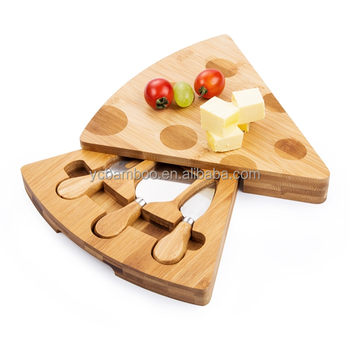 Mini bamboo wooden cheese slicer cutting board and knife set