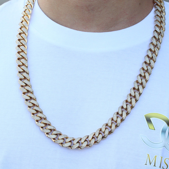 Missjewelry 14k 15mm Mens Iced Out CZ Cuban Link Chain