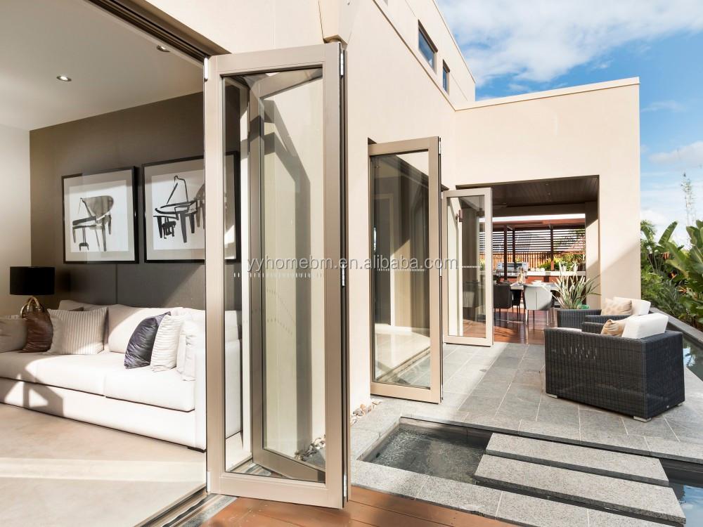 Marco De Aluminio De Vidrio Templado Bifold Puerta Plegable Utiliza ...