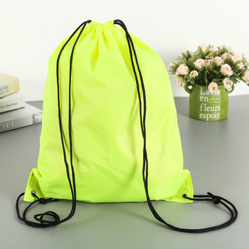 Custom Neon Green Drawstring Bag Polyester in stock for promotion