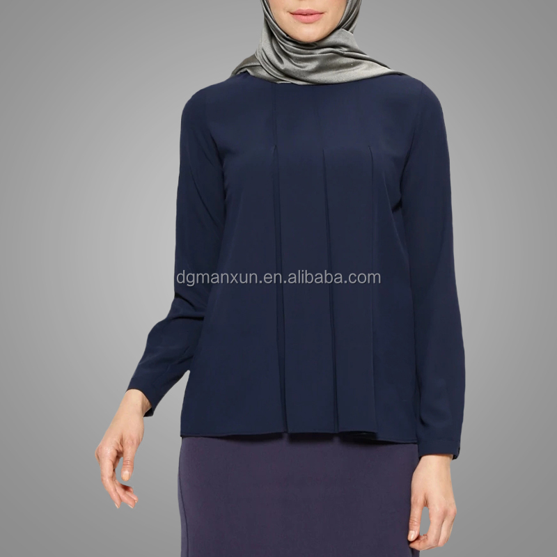 High quality plus size muslim tunic tops long sleeve casual woman tops Islamic clothing