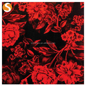 Beautiful Red and Black Rose Polyester Spandex Scuba Floral printed fabric
