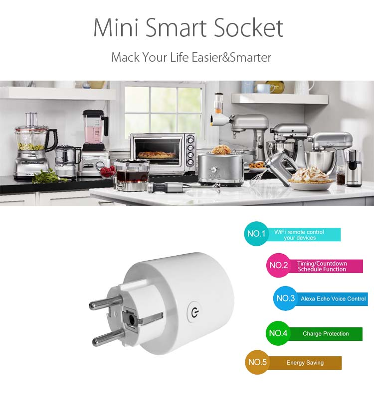 HH smart home wifi socket PG017 , a wireless smart EU  plug compatible with TUYA  ,smart socket OEM/ODM