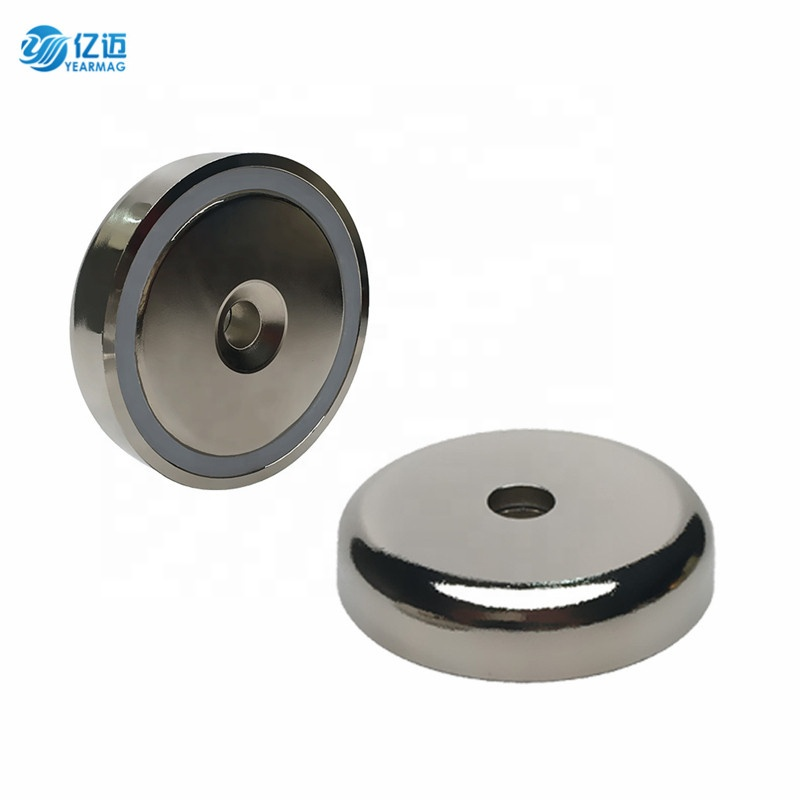 Strong Neodymium Round Base Cup Pot Magnet with Countersunk Hole Tapered Screw for Supermarket Shelves