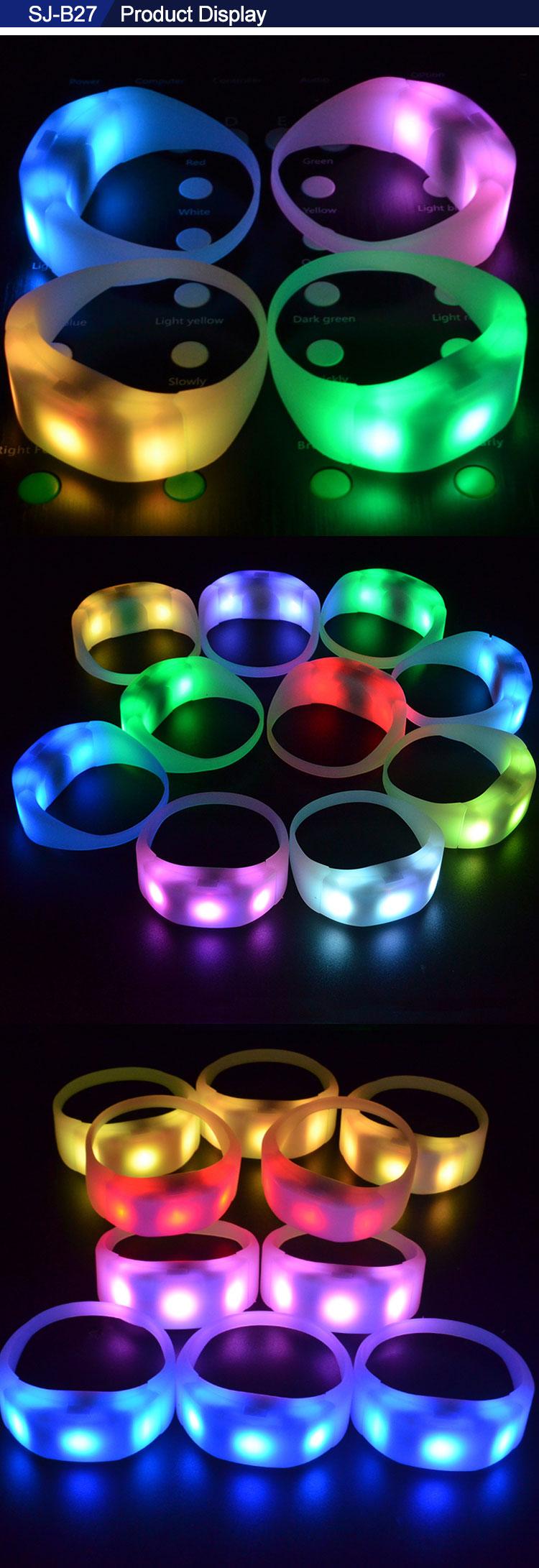 สินค้าใหม่ไอเดีย 2019 3 ไฟ led เรืองแสงใน silicon led สายรัดข้อมือรีโมทคอนโทรลสำหรับคอนเสิร์ตใหญ่