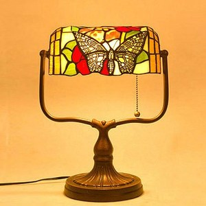 TF-1906 Home Goods Art Deco Bronze Butterfly tiffany stained glass wholesale banker table lamp