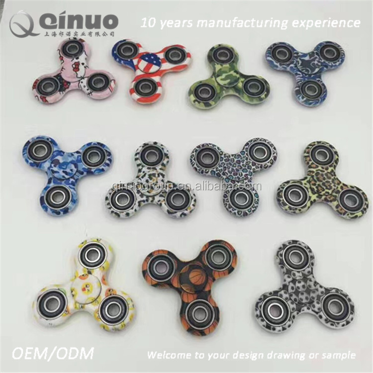New Arrival camouflage color high speed tri bar fidget spinner toy anti stress focus toy