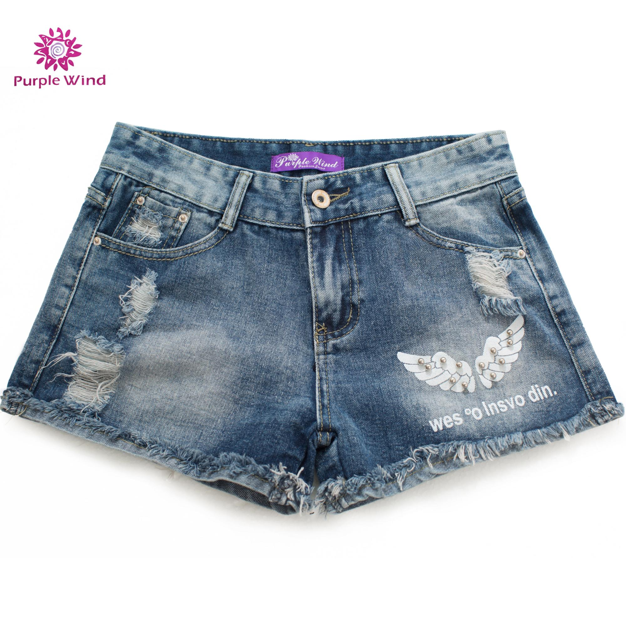 Women blue denim ripped and holes hot shorts jeans with high quality cotton fabric and bead shorts pants