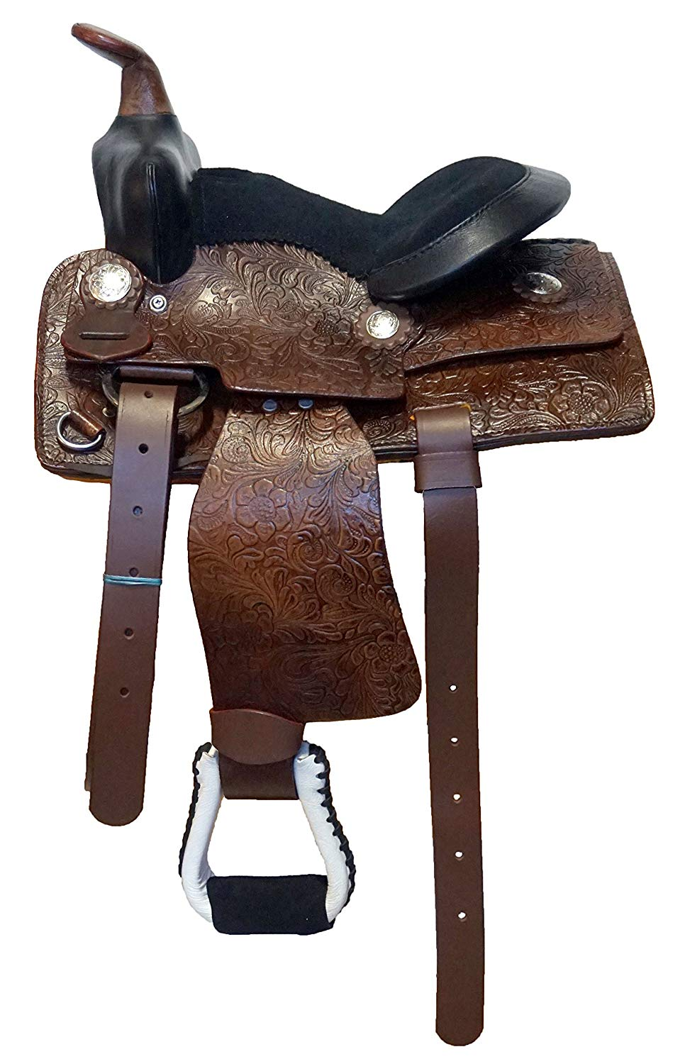 """Equitem 10"""" Brown Leather Economy Western Saddle with Black Suede Seat"""