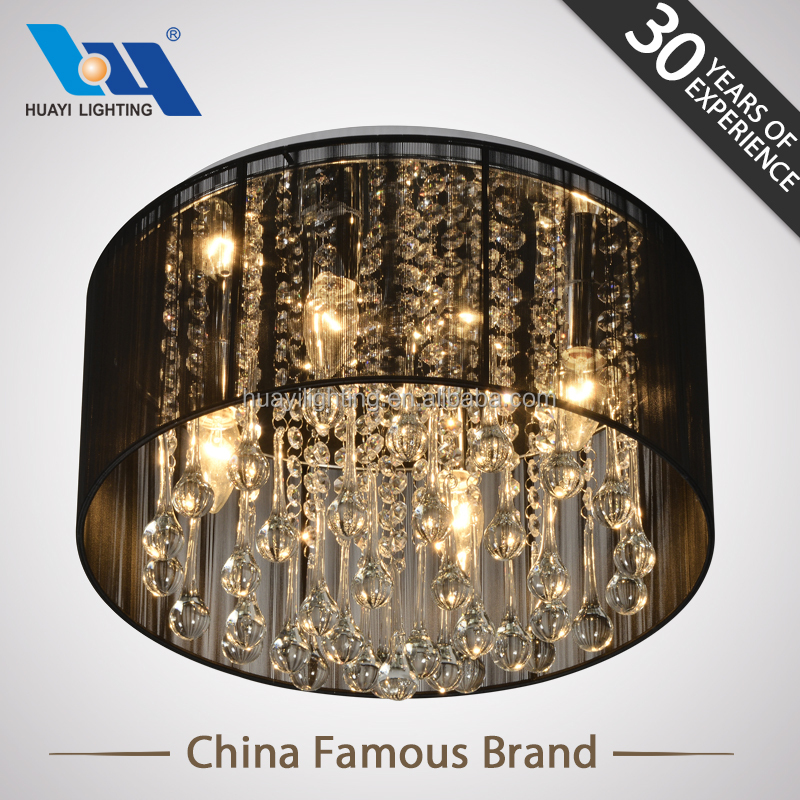 Hot sale Modern black wired lampshade E14 crystal chandelier lamp