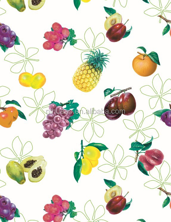 mixed fruits pattern soft pvc film white basic
