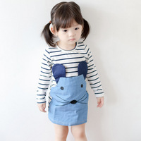 Summer new girls Korean embroidery long sleeve striped dress