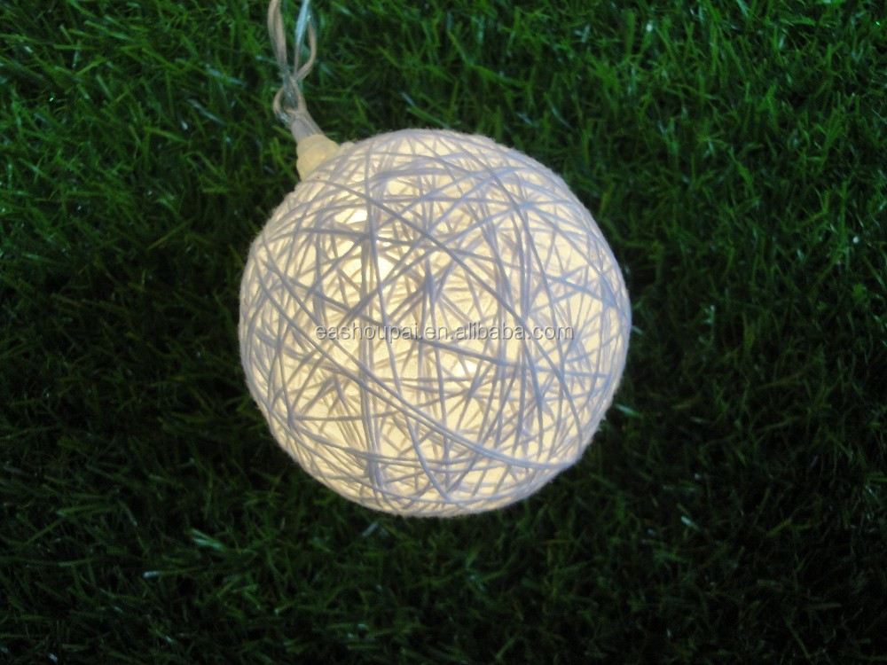 Christmas White Cotton Round Ball String Light 20led Battery Operated Led Decoration Lights ...