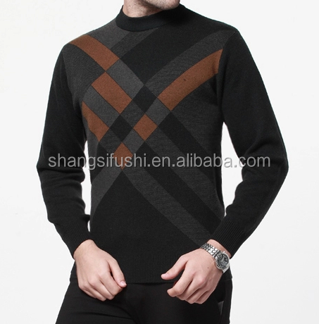 men 100%cashmere checked pattern long sleeve round neck sweater