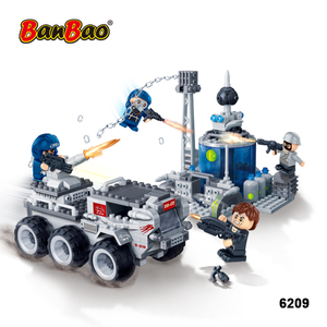BanBao 6209 Good Quality Police Station Armored Car Cannon Plastic Building Blocks Legos Toys Kids Gift Educational ABS Bricks