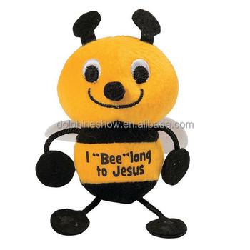 Creative Cute Stuffed Animal Plush Bumble Bee Brand Logo Cheap Cute