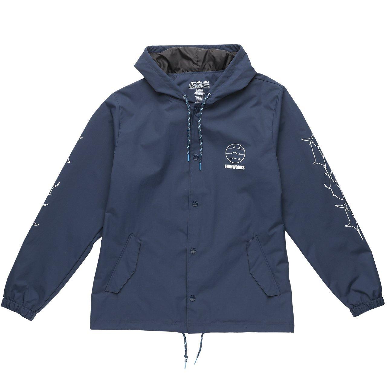 Fishworks Fine Lines Windbreak Hooded Jacket | 100% Durable Nylon with 5,000mm/3,000mm | Taffeta Lined | Windbreaker Fishing Jacket