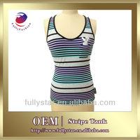 plain t-shirts ladies sleeveless yarn dyes stripe